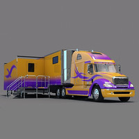 freightliner columbia trailer truck 3d model