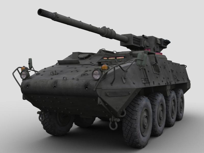 3d m1128 stryker gun model