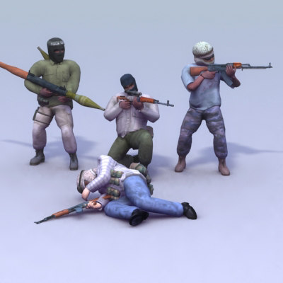 3d terrorist games ak47 model