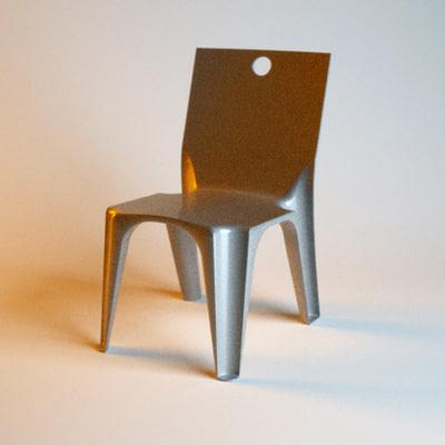 3d hair chair model