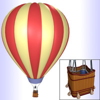 hot air balloon basket c4d