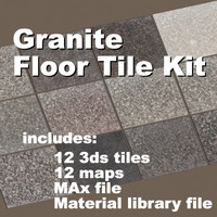 granite floor tile set 3d model