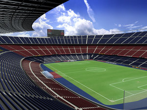 barcelona camp nou football stadium 3d model