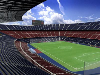 barcelona camp nou football stadium 3d model