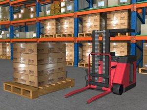 forklift warehouse 3d model