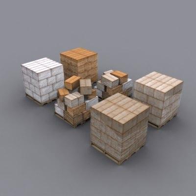 pallets boxes 3d max