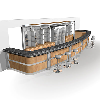 Bar 3d max for Food bar 3d model