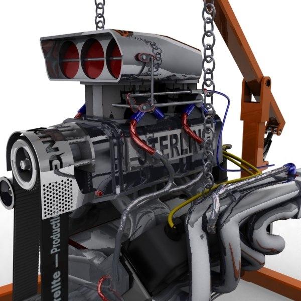 3d engine block blown