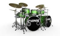 3d drumming sets model