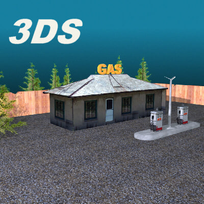 3d model country gas station