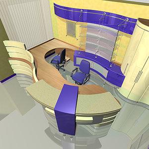 3d max office reception interior