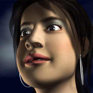 3d model girl head dew