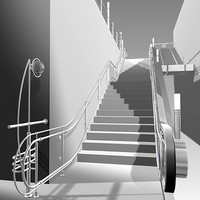 3d model escalator stairs