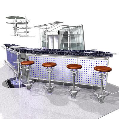 bar restaurant 3d max