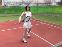 Sports Tennis Girl Model with Tennis Court