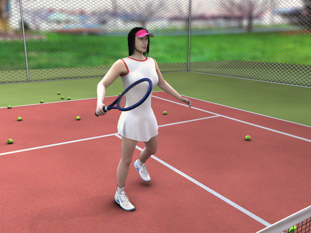 3d x sports tennis girl court