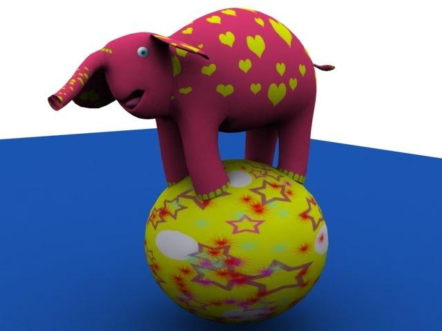 3d elephant character model