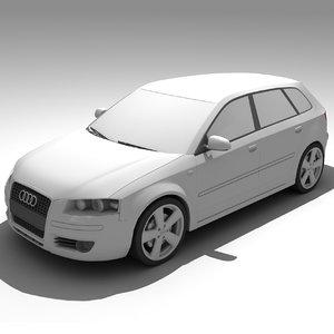 audi a3 sportback car 3d model