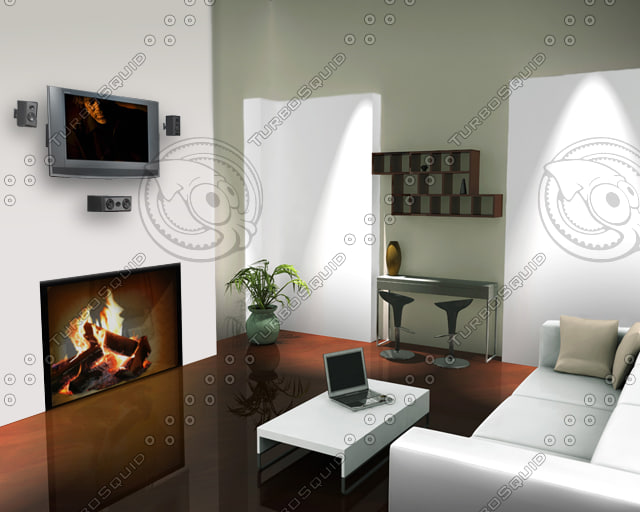 maya living room scene fireplace