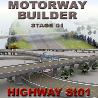 highway motorway rt overpasses 3d model