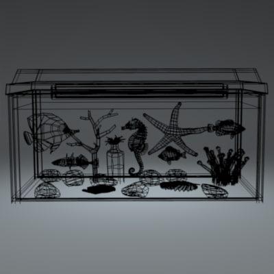 3d aquarium fishes seahorse starfish
