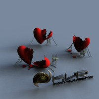 abstract broken heart 3d 3ds