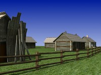 Low Poly Old Barns 3D Model