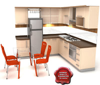 3d model kitchen kerry bonus table chairs