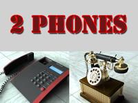 3d 2 telephones antique phone