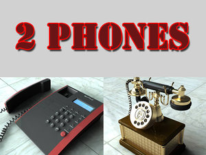 3d 2 telephones antique phone