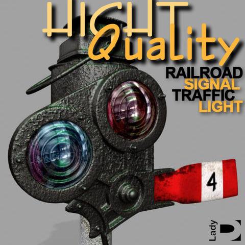 3d railroad signal traffic light