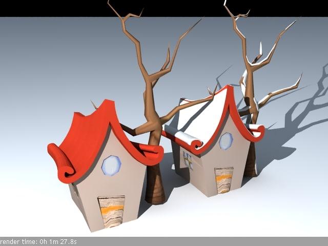 3d cool cartoon house tree winter