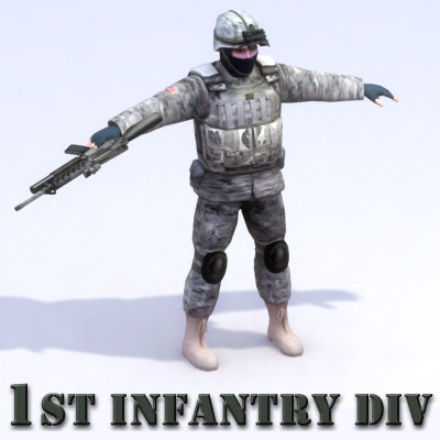 usarmy rigged character army 3d model