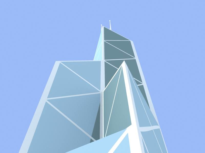 3d hong kong bank skyscrapers model