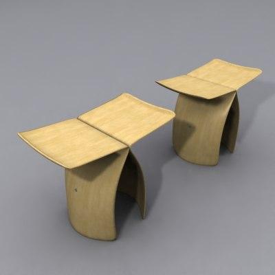 3d butterfly stools model