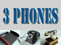 3 telephones antique phone 3d model