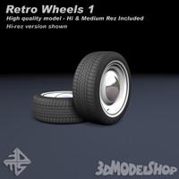 3d wheels retro model