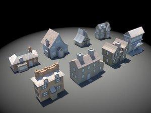 3d set houses cartoon