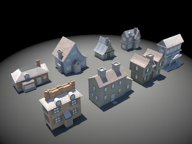 3d set houses cartoon