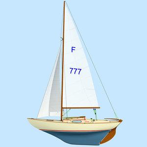 sailing yacht folkboat boat 3ds