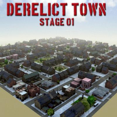 multi ruined city 3d model