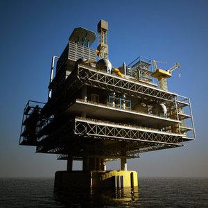 spar oil platform 3d model