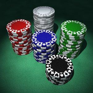 clay poker chips 3d model