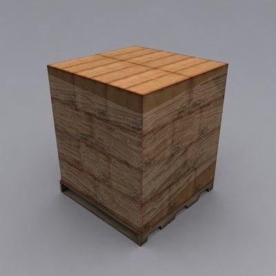 3d model pallet loaded boxes