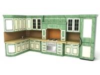 3d kitchen green model