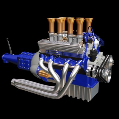 racing motor engine tranny 3d model
