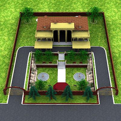 mansion home building 3d model