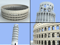 colosseum and leaning tower of pisa