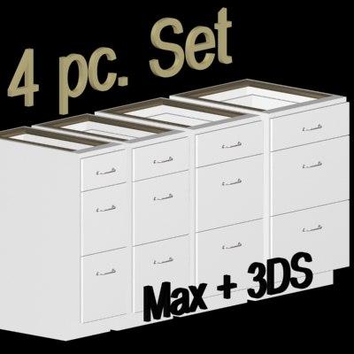 3d model kitchen cabinet drawer base