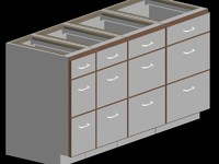 721-SET-kitchen cabinet drawer base trimmed